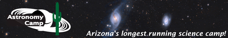 Astronomy Camp Banner - Logo with a background of NGC 3718 taken by previous campers.